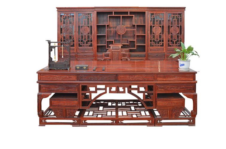 红檀三组合花鸟书柜/2.4米弯角豪华办公桌4208