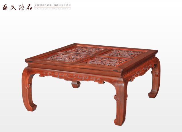 弯脚雕龙面茶台(配矮圈椅)