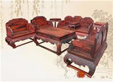 振宇红木家具老挝大红酸枝【高档荷花宝座沙发】价格11件套