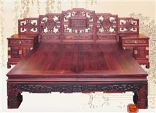 东阳红木家具价格老挝大红酸枝回纹鸳鸯高低大床