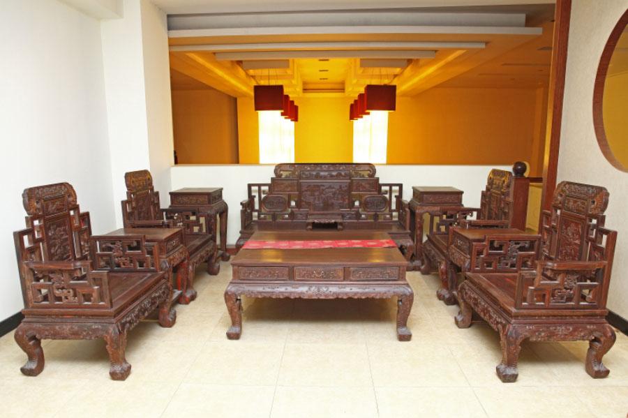 老挝大红酸枝  山水宝座沙发
