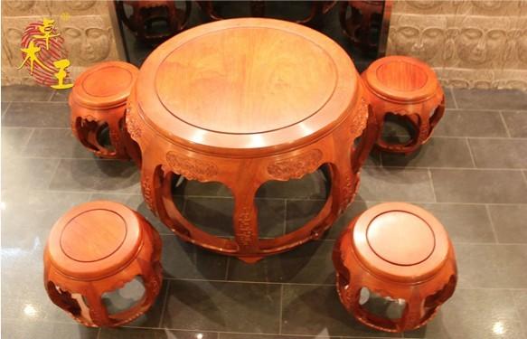 豪华圆鼓茶桌(卓木王)