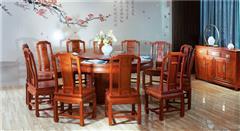 中信红木 红木餐桌 缅甸花梨餐桌 中式餐桌 国色天香圆台1.8米(素面)