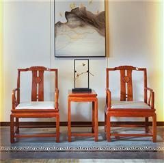 中信紅木 紅木家具休閑椅 紅木官帽椅 緬甸花梨圈椅 新中式紅木 自在休閑椅3件套