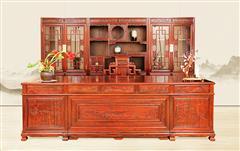 古森紅木 中式書房 闊葉黃檀 新古典紅木家具 書房系列 辦公臺 山水書房5件套
