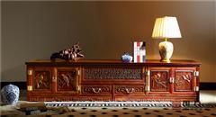 國方家居 中山大不同紅木 老撾大紅酸枝地柜(學名交趾黃檀) 客廳系列 高端紅木家具 紅木電視柜地柜 2.2米四門兩抽地柜
