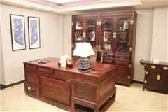 海强红木  汉宫书桌书柜  红酸枝书桌柜书柜  红木书桌书柜