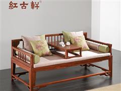 红古轩 实木家具 红木罗汉床 新中式 刺猬紫檀 非洲花梨木 简约禅意卧躺沙发床塌