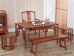 红古轩  新中式红木 茶台茶几 实木禅意茶艺桌 非洲花梨木 家用茶桌椅