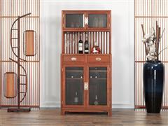 红古轩 新中式实木 红木酒柜 非洲花梨木 客厅家用餐边柜 储物柜红酒展示柜