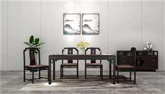 新明红木 墨语 红木家具印尼黑酸枝(学名:阔叶黄檀)餐桌新中式家具中式餐桌