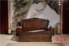 龙珍阁红木 阔叶黄檀家具 东阳红木大床 卧室优雅红木床