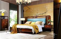 东成红木 东成·文宋 黑酸枝大床  和风大床  当代中式家具 阔叶黄檀新中式 新中式卧室系列