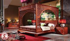 国寿红木 缅甸花梨家具 红木架子床 缅甸花梨架子床 红木床 东方丹云百子大床三件套