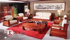 国寿红木 缅甸花梨家具 如意沙发十件套 东方丹云条纹屏风