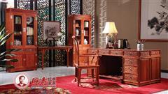 国寿红木 缅甸花梨家具 红木书桌 红木书柜 东方丹云书台180 东方丹云书柜