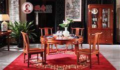 国寿红木 缅甸花梨家具 缅甸花梨圆台 红木餐台 东方丹云圆台1.3M七件套 东方丹云酒柜