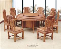 创辉红木 月堂坊 缅甸花梨(大果紫檀)1.38米雕花圆餐桌餐台9件套 餐厅系列 新古典红木家具