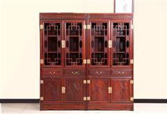创辉红木 月堂坊 东非黑酸枝书柜1对 书房系列 办公系列 新古典家具