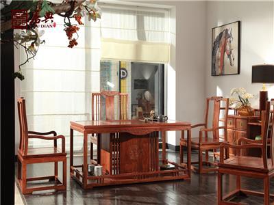 居典红木 刺猬紫檀茶台茶桌 新中式红木茶台茶桌 简约实用可置物红木茶台茶桌 茶台系列  悦几茶室