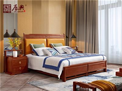 居典红木 刺猬紫檀大床 新中式红木大床  真皮床头靠背现代时尚红木大床 卧室卧房系列 悦几清风床
