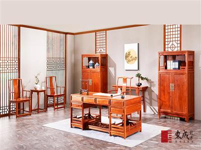 东成红木 缅甸花梨明式经典书房系列 新古典红木家具 红木书桌 大师书房 书房系列