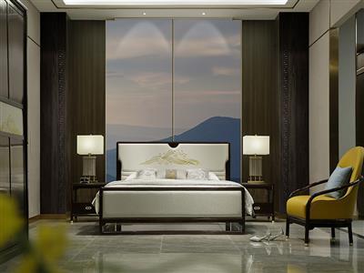 老周家居 上海老周红木 印尼黑酸枝(阔叶黄檀)红木床 禅悦系列现代中式大床