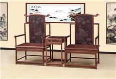 老挝大红酸枝  檀雕椅3件套