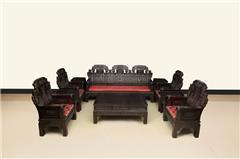 黑檀象头如意沙发十件套
